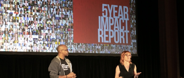Melinder Epler and Wayne Sutton present Change Catalyst's 5 Year Impact Report