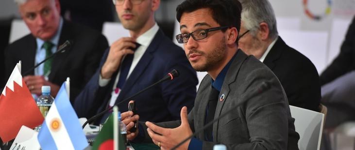 Arnobio Morelix speaking at Ministerial Meeting for the Global Entrepreneurship Congress (Bahrain)