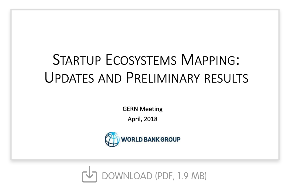 Startup Ecosystems Mapping: Updates and Preliminary Results